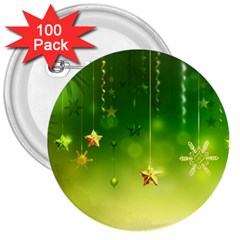 Christmas Green Background Stars Snowflakes Decorative Ornaments Pictures 3  Buttons (100 Pack)