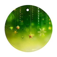 Christmas Green Background Stars Snowflakes Decorative Ornaments Pictures Round Ornament (two Sides)