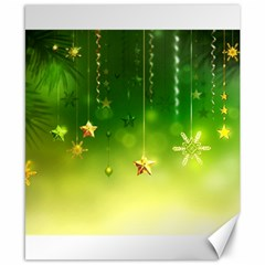Christmas Green Background Stars Snowflakes Decorative Ornaments Pictures Canvas 8  X 10