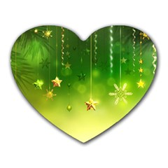 Christmas Green Background Stars Snowflakes Decorative Ornaments Pictures Heart Mousepads
