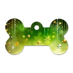 Christmas Green Background Stars Snowflakes Decorative Ornaments Pictures Dog Tag Bone (two Sides)