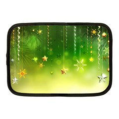 Christmas Green Background Stars Snowflakes Decorative Ornaments Pictures Netbook Case (medium)