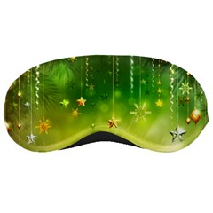 Christmas Green Background Stars Snowflakes Decorative Ornaments Pictures Sleeping Masks