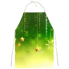 Christmas Green Background Stars Snowflakes Decorative Ornaments Pictures Full Print Aprons