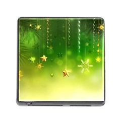 Christmas Green Background Stars Snowflakes Decorative Ornaments Pictures Memory Card Reader (square)