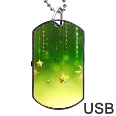 Christmas Green Background Stars Snowflakes Decorative Ornaments Pictures Dog Tag Usb Flash (two Sides)