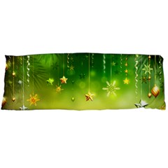 Christmas Green Background Stars Snowflakes Decorative Ornaments Pictures Body Pillow Case Dakimakura (two Sides)