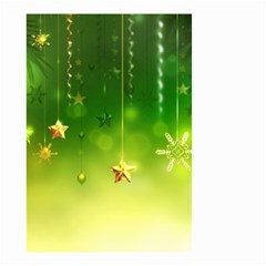 Christmas Green Background Stars Snowflakes Decorative Ornaments Pictures Small Garden Flag (two Sides)