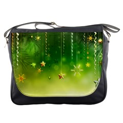 Christmas Green Background Stars Snowflakes Decorative Ornaments Pictures Messenger Bags