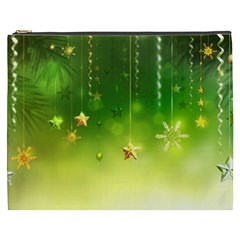 Christmas Green Background Stars Snowflakes Decorative Ornaments Pictures Cosmetic Bag (xxxl)