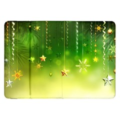 Christmas Green Background Stars Snowflakes Decorative Ornaments Pictures Samsung Galaxy Tab 8 9  P7300 Flip Case