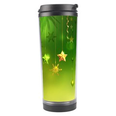 Christmas Green Background Stars Snowflakes Decorative Ornaments Pictures Travel Tumbler