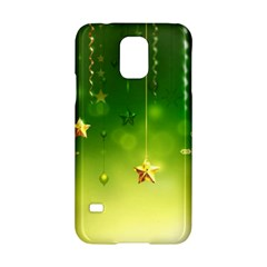 Christmas Green Background Stars Snowflakes Decorative Ornaments Pictures Samsung Galaxy S5 Hardshell Case