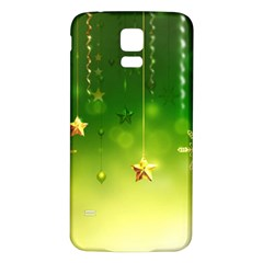 Christmas Green Background Stars Snowflakes Decorative Ornaments Pictures Samsung Galaxy S5 Back Case (white)