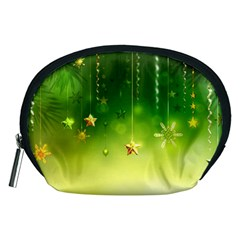 Christmas Green Background Stars Snowflakes Decorative Ornaments Pictures Accessory Pouches (medium)