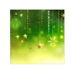 Christmas Green Background Stars Snowflakes Decorative Ornaments Pictures Small Satin Scarf (square)