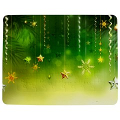 Christmas Green Background Stars Snowflakes Decorative Ornaments Pictures Jigsaw Puzzle Photo Stand (Rectangular)