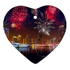 Christmas Night In Dubai Holidays City Skyscrapers At Night The Sky Fireworks Uae Ornament (heart)