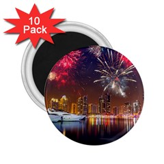 Christmas Night In Dubai Holidays City Skyscrapers At Night The Sky Fireworks Uae 2 25  Magnets (10 Pack)