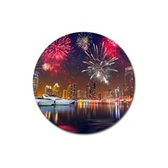 Christmas Night In Dubai Holidays City Skyscrapers At Night The Sky Fireworks Uae Magnet 3  (round)