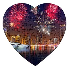 Christmas Night In Dubai Holidays City Skyscrapers At Night The Sky Fireworks Uae Jigsaw Puzzle (heart)