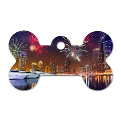 Christmas Night In Dubai Holidays City Skyscrapers At Night The Sky Fireworks Uae Dog Tag Bone (two Sides)