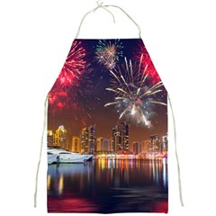 Christmas Night In Dubai Holidays City Skyscrapers At Night The Sky Fireworks Uae Full Print Aprons