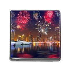 Christmas Night In Dubai Holidays City Skyscrapers At Night The Sky Fireworks Uae Memory Card Reader (square)