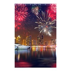 Christmas Night In Dubai Holidays City Skyscrapers At Night The Sky Fireworks Uae Shower Curtain 48  X 72  (small)