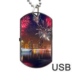 Christmas Night In Dubai Holidays City Skyscrapers At Night The Sky Fireworks Uae Dog Tag Usb Flash (two Sides)
