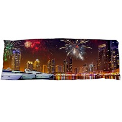 Christmas Night In Dubai Holidays City Skyscrapers At Night The Sky Fireworks Uae Body Pillow Case Dakimakura (two Sides)