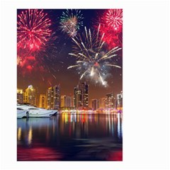 Christmas Night In Dubai Holidays City Skyscrapers At Night The Sky Fireworks Uae Small Garden Flag (two Sides)