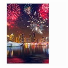 Christmas Night In Dubai Holidays City Skyscrapers At Night The Sky Fireworks Uae Large Garden Flag (two Sides)