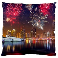 Christmas Night In Dubai Holidays City Skyscrapers At Night The Sky Fireworks Uae Large Cushion Case (two Sides)