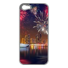 Christmas Night In Dubai Holidays City Skyscrapers At Night The Sky Fireworks Uae Apple Iphone 5 Case (silver)