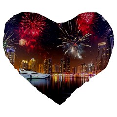 Christmas Night In Dubai Holidays City Skyscrapers At Night The Sky Fireworks Uae Large 19  Premium Heart Shape Cushions