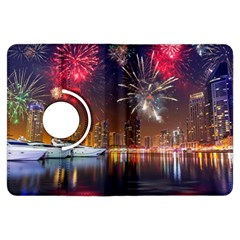 Christmas Night In Dubai Holidays City Skyscrapers At Night The Sky Fireworks Uae Kindle Fire Hdx Flip 360 Case