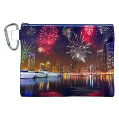 Christmas Night In Dubai Holidays City Skyscrapers At Night The Sky Fireworks Uae Canvas Cosmetic Bag (xxl)