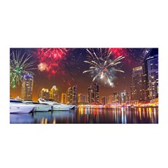 Christmas Night In Dubai Holidays City Skyscrapers At Night The Sky Fireworks Uae Satin Wrap