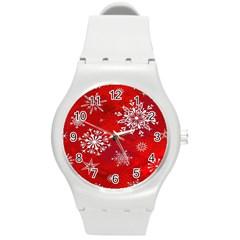 Christmas Pattern Round Plastic Sport Watch (m)