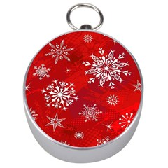 Christmas Pattern Silver Compasses