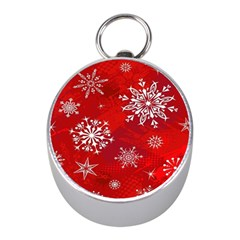 Christmas Pattern Mini Silver Compasses