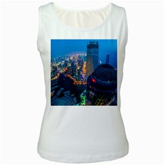 City Dubai Photograph From The Top Of Skyscrapers United Arab Emirates Women s White Tank Top