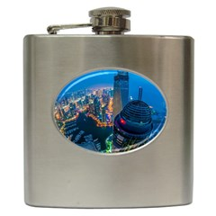 City Dubai Photograph From The Top Of Skyscrapers United Arab Emirates Hip Flask (6 Oz)