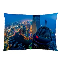 City Dubai Photograph From The Top Of Skyscrapers United Arab Emirates Pillow Case