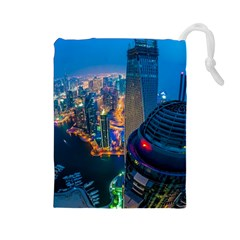 City Dubai Photograph From The Top Of Skyscrapers United Arab Emirates Drawstring Pouches (large)