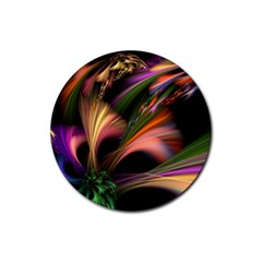 Color Burst Abstract Rubber Round Coaster (4 Pack)