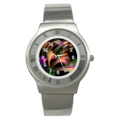 Color Burst Abstract Stainless Steel Watch