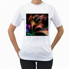Color Burst Abstract Women s T Shirt (white)