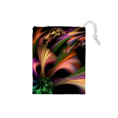 Color Burst Abstract Drawstring Pouches (small)